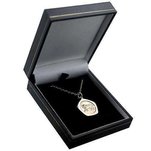 9ct Gold 21mm five sided Leo Zodiac Pendant with an oval Belcher chain
