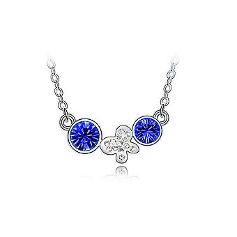 Womens Silver Necklace Dark Blue Drop Chain Flower Butterfly Charm Jewelery