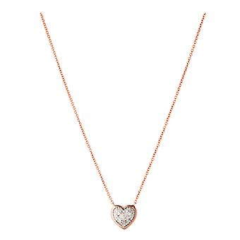 Links Of London Dia Ess Pave Heart Necklace Rose Gold