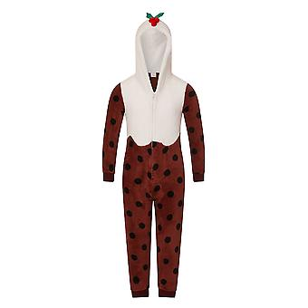 Loungeable, Girls Luxury 3D Novelty Christmas Theme Fancy Dress Onesie Jumpsuit , Christmas Pudding, Child 7-8 Yrs