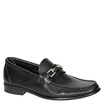 Handmade black full grain leather loafers for men