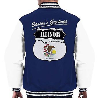 Seasons Greetings Illinois State Flag Weihnachten Männer Varsity Jacket