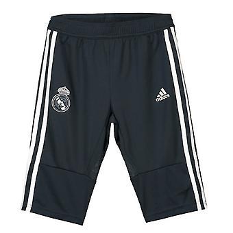 2018-2019 Real Madrid Adidas Three Quarter Length Pants (Dark Grey) - Kids