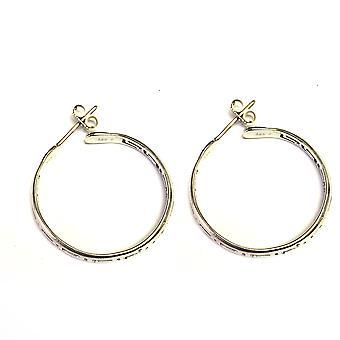 Sterling Silver Rhodium Plated Greek Key Hoop Earrings