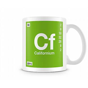 Element Symbol 098 Californium Printed Mug