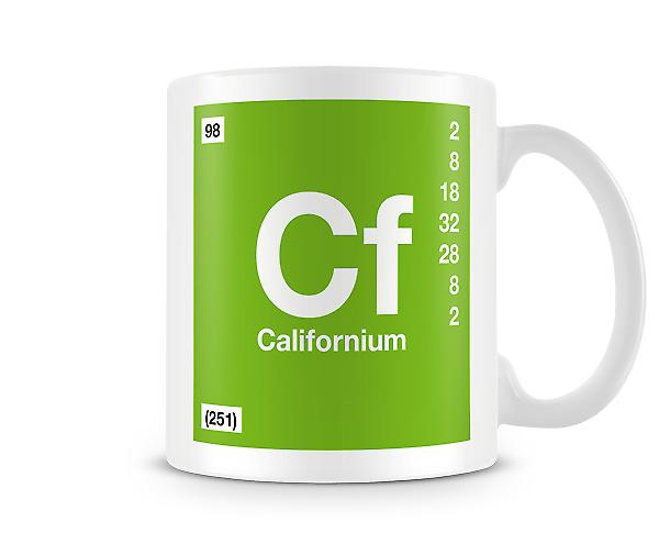 Element Symbol 098 Californium Tryckt mugg