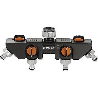 GARDENA 8194-20 4-Wege-Verteiler Schlauchstecker, 26,44 mm (3/4) OT, 33,25 mm (1) OT mit Druckregler