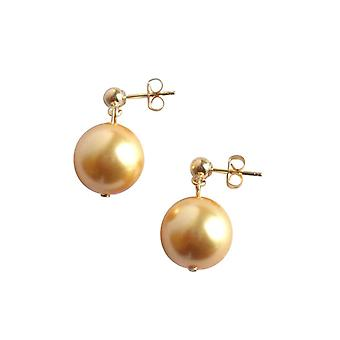 Gemshine - ladies - earrings - beads - Tahiti - gold - gold plated 12 mm
