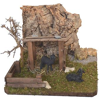 Sheep shelter with Cork rocks, fences, straw and 2 black sheep crib accessories