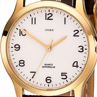 JOBO ladies wrist watch quartz analog stainless steel gold-plated leather strap Brown