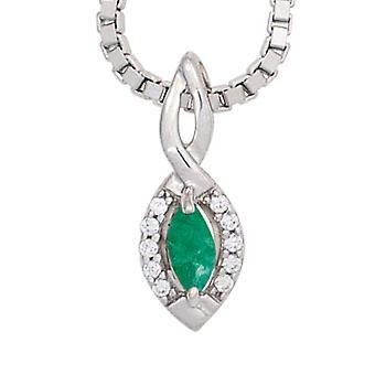 Emerald pendant 333 gold white gold emerald green 10 diamonds brilliant 0, 04ct.