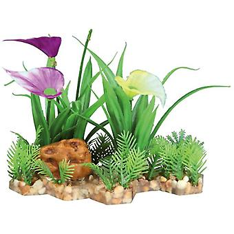 Trixie Plastic Plant in Gravel Bed 13 Cm. (Fish , Decoration , Artificitial Plants)