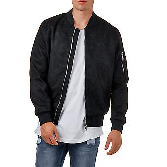 EightyFive mens faux leather bomber jacket black