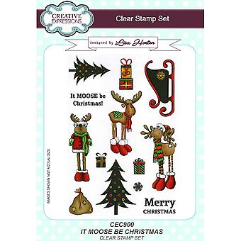 Creative Expressions Lisa Horton It Moose Be Christmas Clear 13 Stamp Set