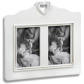 Heart - Double Free Standing Photo Frame - White