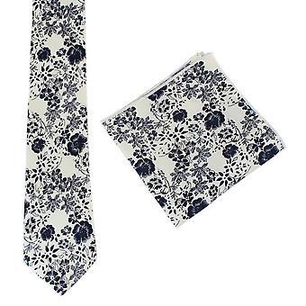 Knightsbridge Neckwear Floral Tie and Pocket Square Set - Cream/Navy