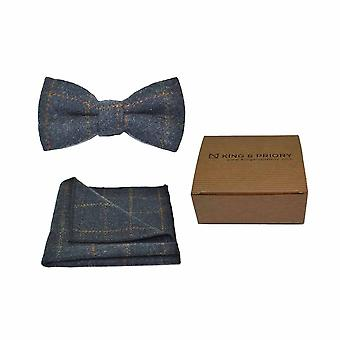 Erfgoed Controleer donkerblauw strikje & zak plein - Tweed, geruite land Look | Boxed