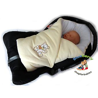 BlueberryShop Warm Thermo Terry for CAR SEAT Swaddle Wrap Blanket Sleeping Bag for Newborn, baby shower GIFT Cotton 0-3m