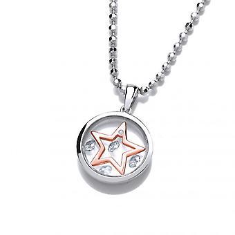 Cavendish Frans hemelse zilver en Rose Gold Mini Shooting Star hanger zonder ketting