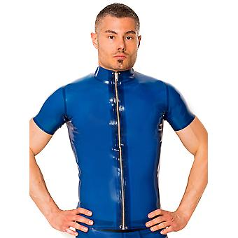 Skin Two Clothing Men's Sexy T-shirt Electric Blue Latex Rubber Zip Up Outfit