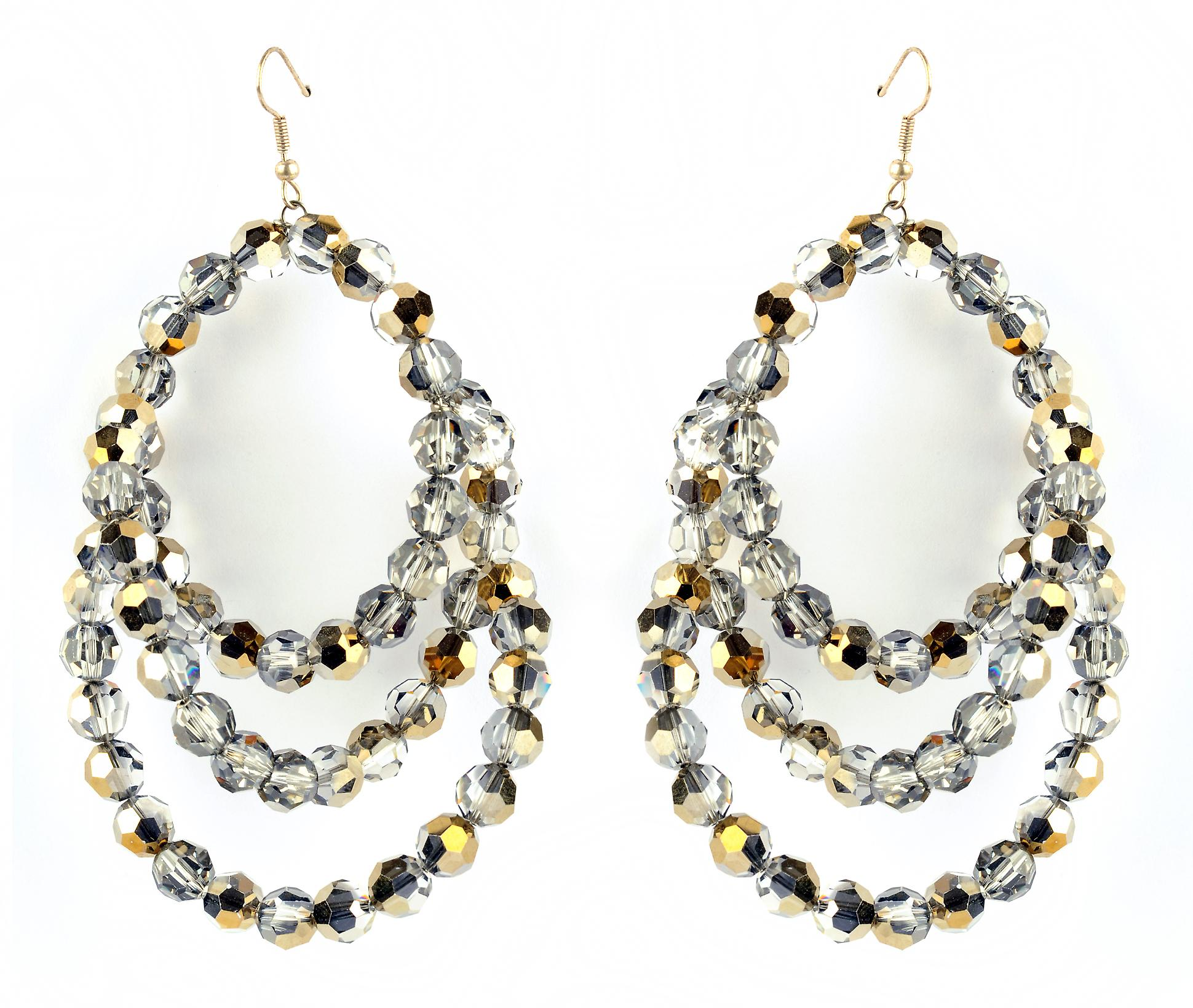 Waooh - Fashion Jewellery - WJ0759 - Large Oreilleavec Swarovski Earrings Color Silver Chrome Iridium
