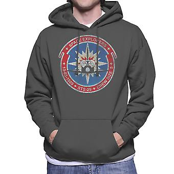 NASA STS 29 Discovery Mission Badge Distressed Men's Hooded Sweatshirt