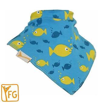 Blue & yellow fishes bandana bib