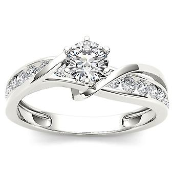 IGI Certified 14K White Gold 3/4 Ct TDW Diamond Engagement Ring(I-J, I2)