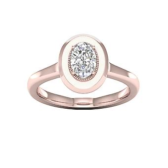 DE COUER 3/4Ct TDW Oval Diamond 14k Rose Gold Solitaire Engagement Ring (I-J, I2)