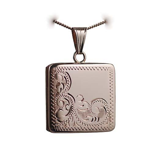 9ct Rose Gold 22mm half hand engraved flat square Locket with a curb Chain 16 inches Only Suitable for Children