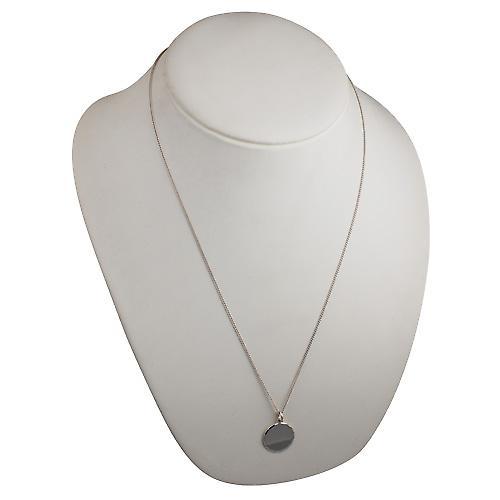Silver 20mm round diamond cut edge Disc with a curb Chain 24 inches