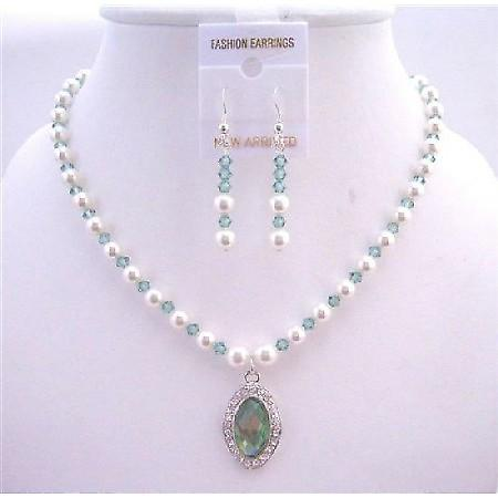 Bridal Jewelry Erinite Swarovski Crystals & White Pearls Necklace Set