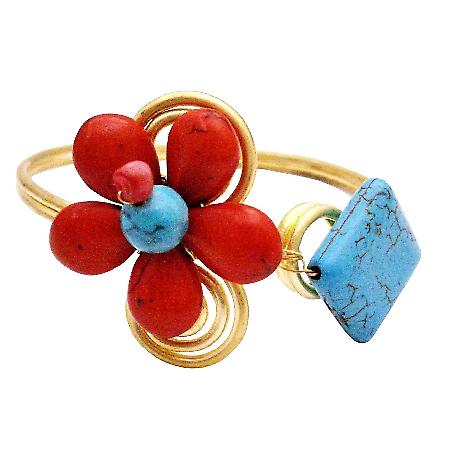 Coral Turquiose Gold Cuff Bracelet Unbeaten Price