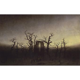 Abbey under Oak Trees,Caspar David Friedrich,60x38cm