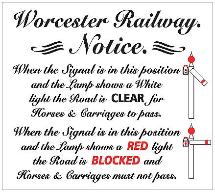 Worcester Railway Signals enamelled steel wall sign    (dp)