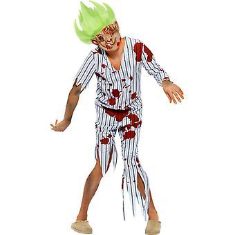 Zombie-Oger Kostüm, Blau, mit Oberteil, Hose, Maske und Perücke