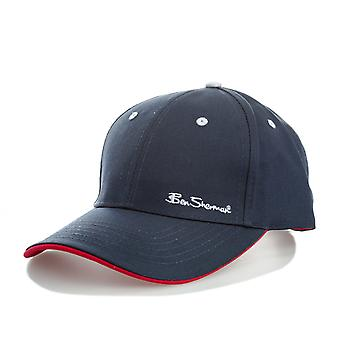 Mens Ben Sherman Ash 6 Panel Cap In Navy- Button To Top- Pre-Curved Visor-