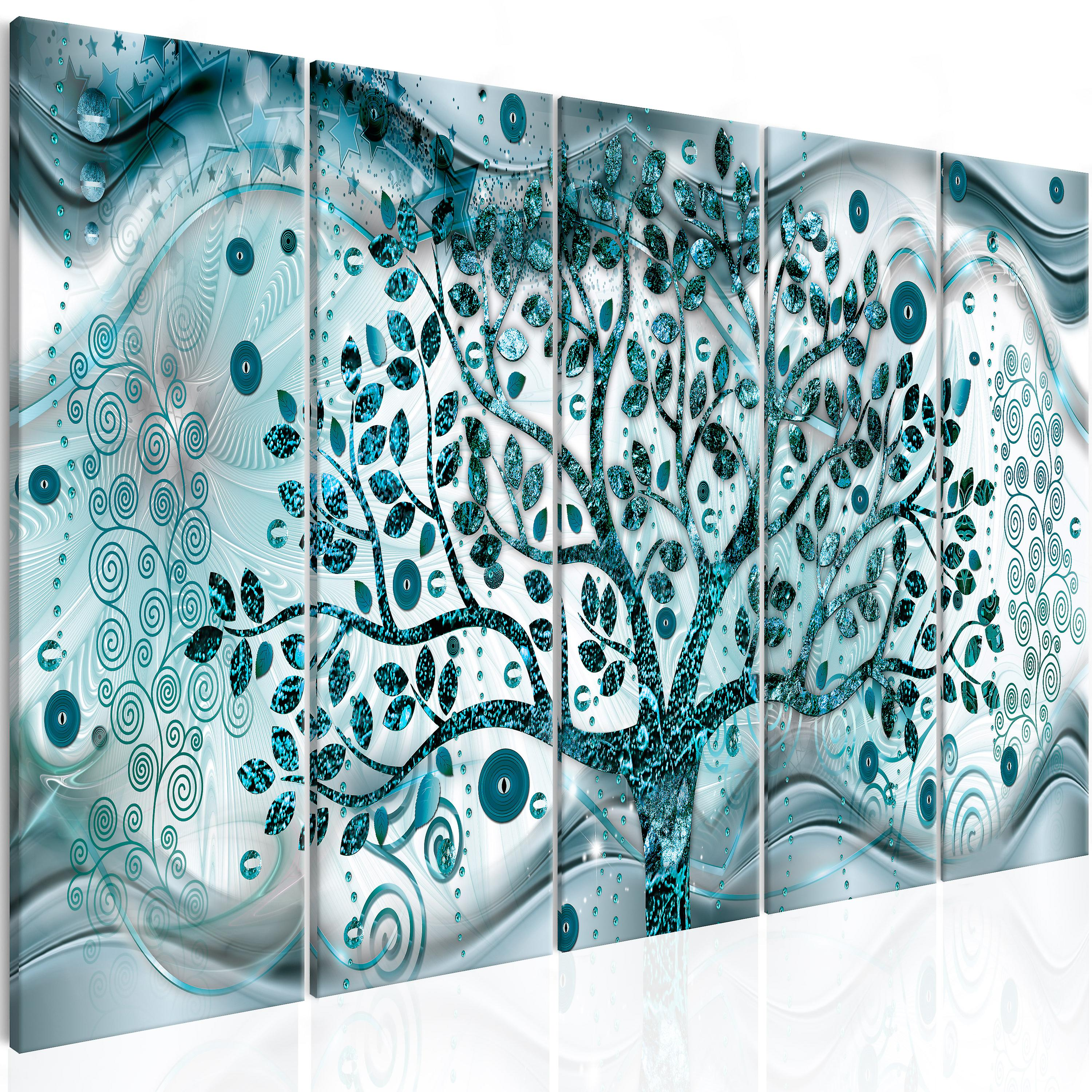 Tableau - Tree and Waves (5 Parts) bleu