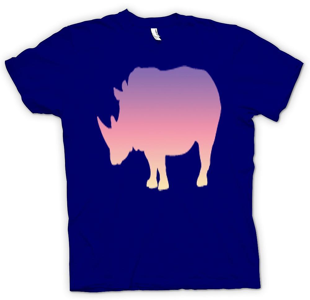 Mens T-shirt - Rainbow Rhino Psychedelic