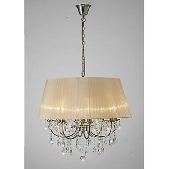 Olivia Pendant With Soft Bronze Shade 8 Light Antique Brass/crystal