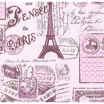 Paris Stamp Collage Stripe Wallpaper Girls Pink Brown Eiffel Tower Textured Paris Stamp Collage Stripe Wallpaper Girls Pink Brown Eiffel Tower Textured Paris Stamp Collage