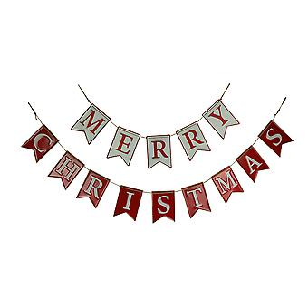 Red and White Enamel Metal Merry Christmas Rope Garland Holiday Decor 2 Piece Set