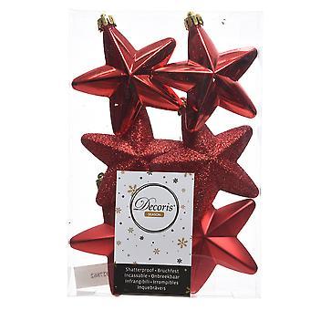 6cm Red Matt, Foil & Glitter Shatterproof Christmas Star Tree Baubles - 6 Pack