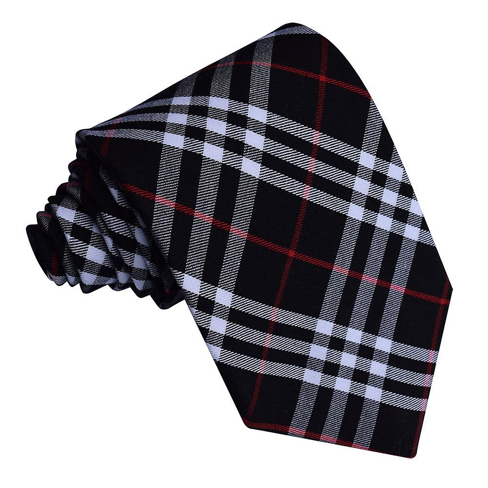 Black & White with Red Tartan Tie