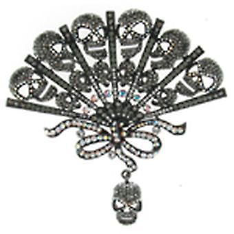 Butler og Wilson Crystal Skull Fan figur broche