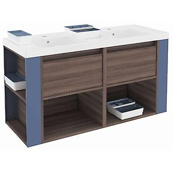 Bath+ Cabinet 2 drawers 2 shelves With Resin Basin Fresno-Blue 120cm