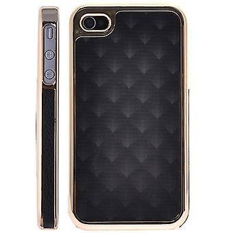Golden plastic cover and skin-iPhone 4/4S (black)