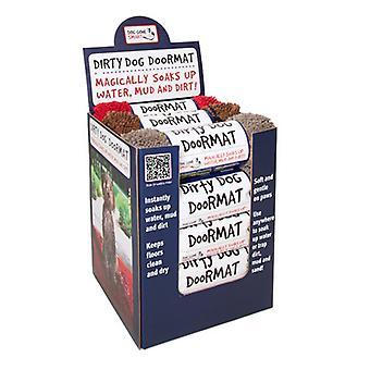 Dirty Dog Doormat Display - Contains 15 Medium Doormats (brown Maroon & Grey) (Pack of 15)