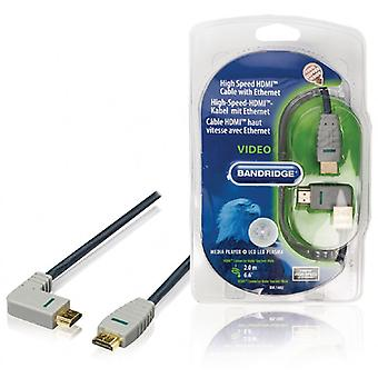 BANDRIDGE High Speed HDMI-kabel met Ethernet HDMI Connector HDMI Connector schuin links blauw