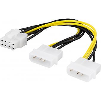 DELTACO adapter cable, 2xMolex 4-pin to 8-pin PCI-Express, 30 cm
